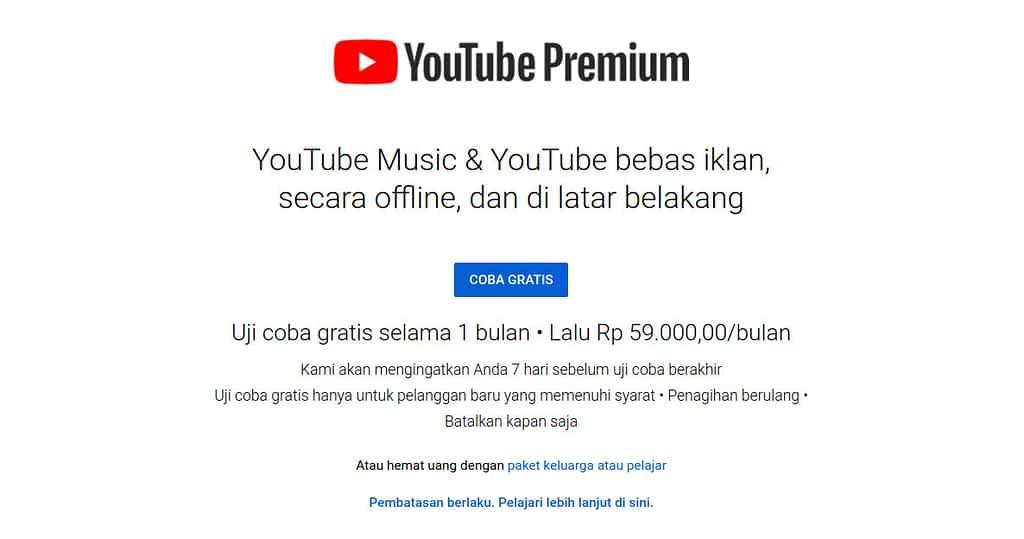cara menontonvideo youtube tanpa iklan dengan mengaktifkanyoutube premium